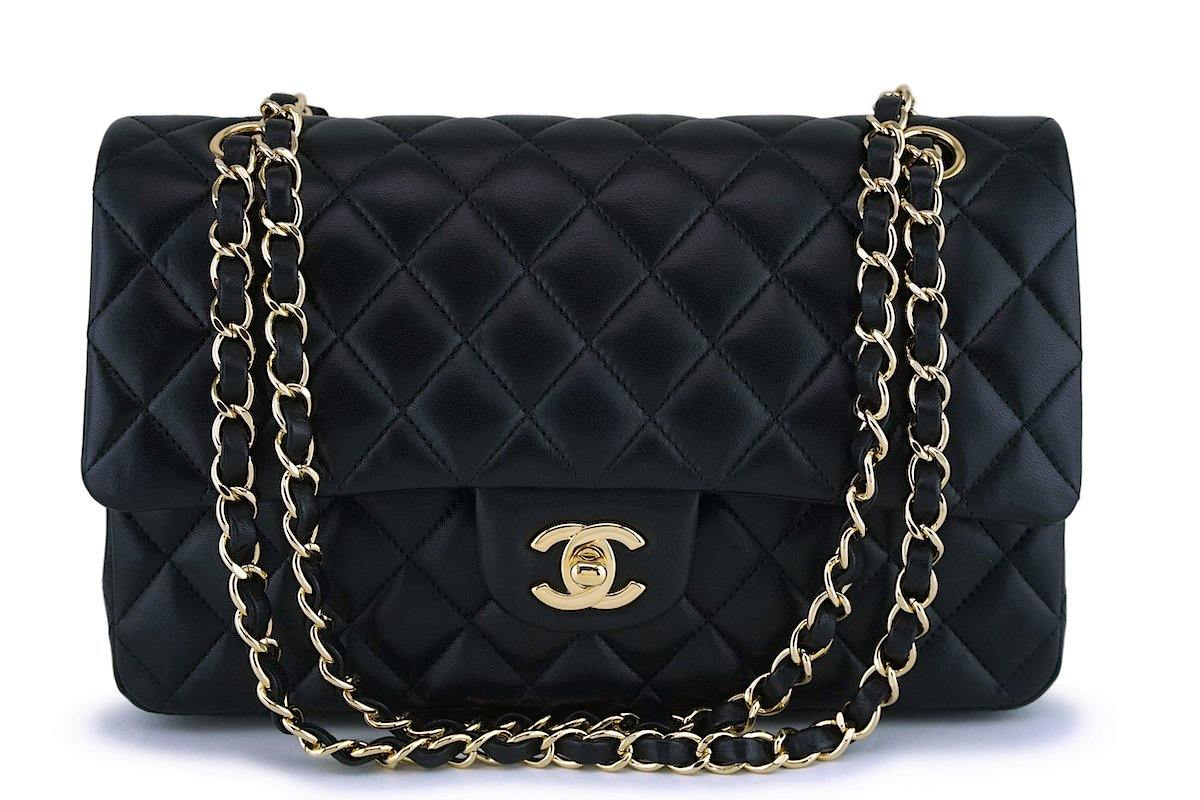 Chanel Black Lambskin Medium Classic Double Flap Bag GHW