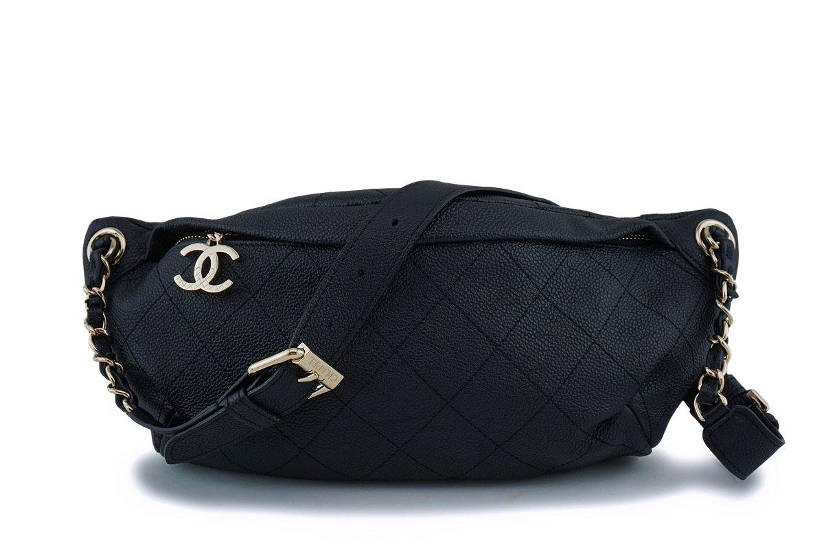 17P Chanel Black Soft Caviar Fanny Pack Belt Bag GHW
