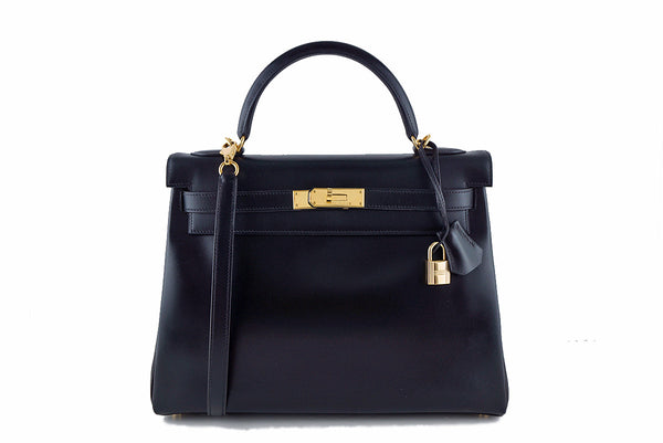 Hermes Black 32cm Box calf Kelly Retourne Bag
