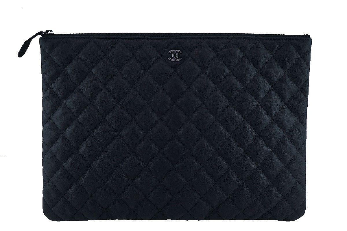 chanel o case. chanel so black large classic quilted o case clutch purse bag