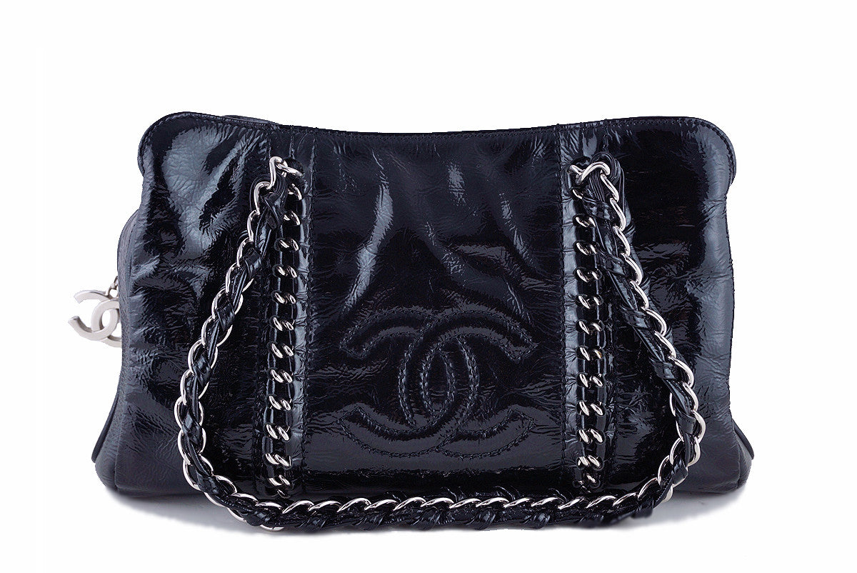 Chanel Black Patent Luxury Ligne Shopper Tote Bag
