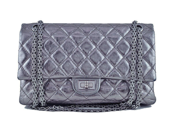 Chanel Dark Silver Distressed Calf 226 Classic Reissue 2.55 Flap Bag