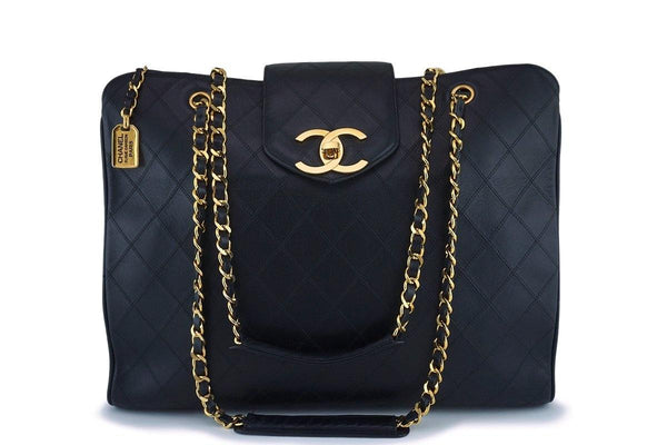 Rare Chanel Vintage Black Giant XL Supermodel Tote Bag 24k GHW