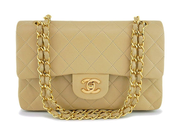 Chanel Beige Lambskin Small Classic Double Flap Bag 24k GHW