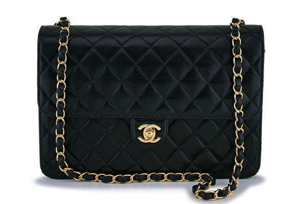 Chanel Vintage Black Timeless Classic Flap Clutch Shoulder Bag 24k GHW