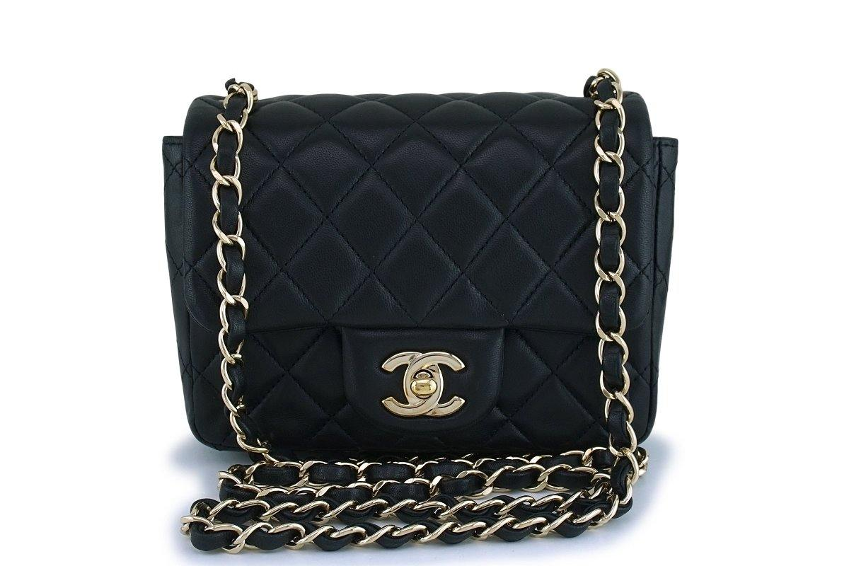 Chanel Black Square Mini Classic Flap Bag GHW