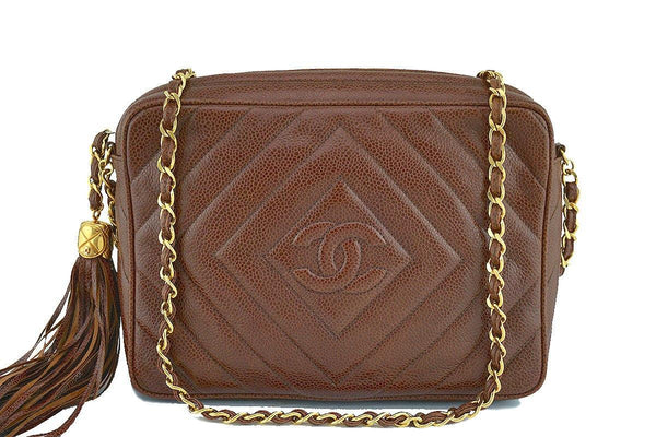 Chanel Caramel Brown Caviar Classic Quilted Camera Case Bag 24k Gold Plated