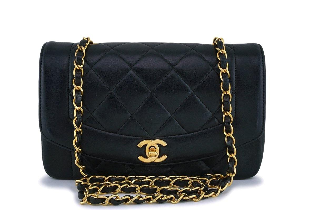 b5985a2841fe Chanel Black Vintage Lambskin Small Diana Classic Flap Bag 24k GHW