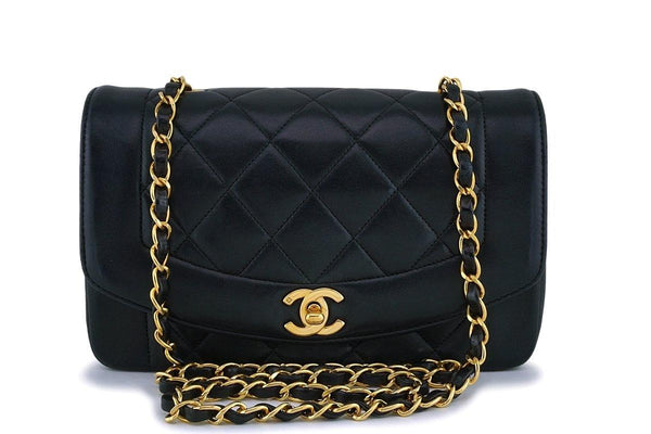 e1b595cdc60d Chanel Black Vintage Lambskin Small Diana Classic Flap Bag 24k GHW