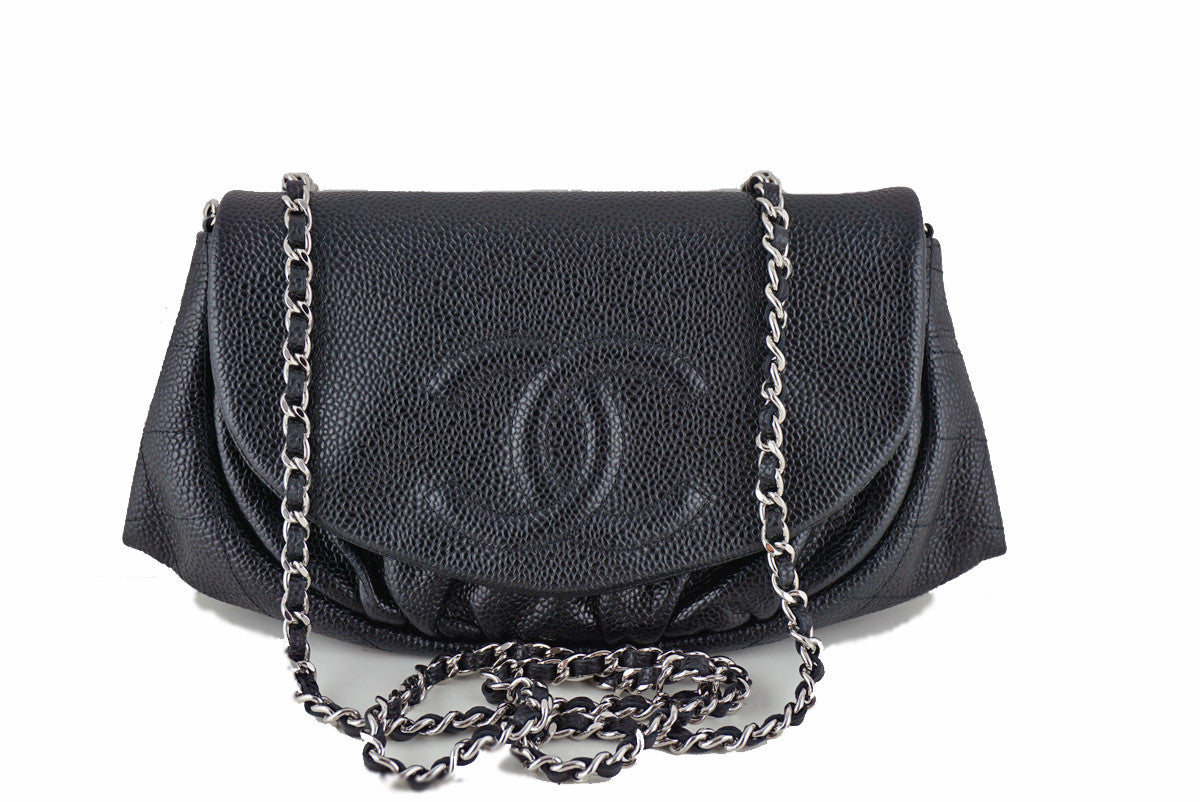 Chanel Black Caviar Half Moon WOC Wallet on Chain Purse Bag