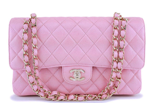 NIB 19S Chanel Iridescent Pearly Pink Caviar Medium Classic Double Flap Bag GHW