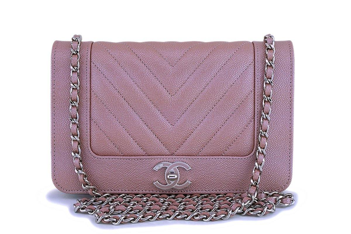 53d2998c6db5 NIB 19P Chanel Pink Caviar Rose Gold Chevron Wallet on Chain WOC Flap