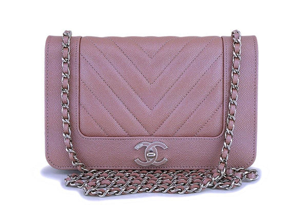 NIB 19P Chanel Pink Caviar Rose Gold Chevron Wallet on Chain WOC Flap Bag