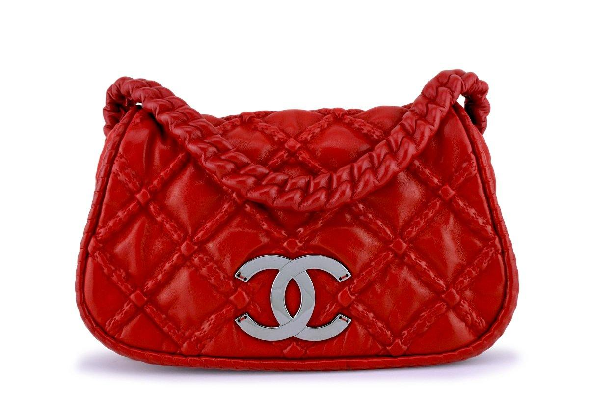 Chanel Red Hidden Chain Jumbo Soft Luxury Flap Bag