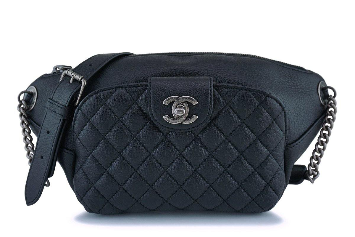 8ee412d9b3c2 Chanel Black Grained Calfskin Quilted Classic Fanny Pack Bag RHW