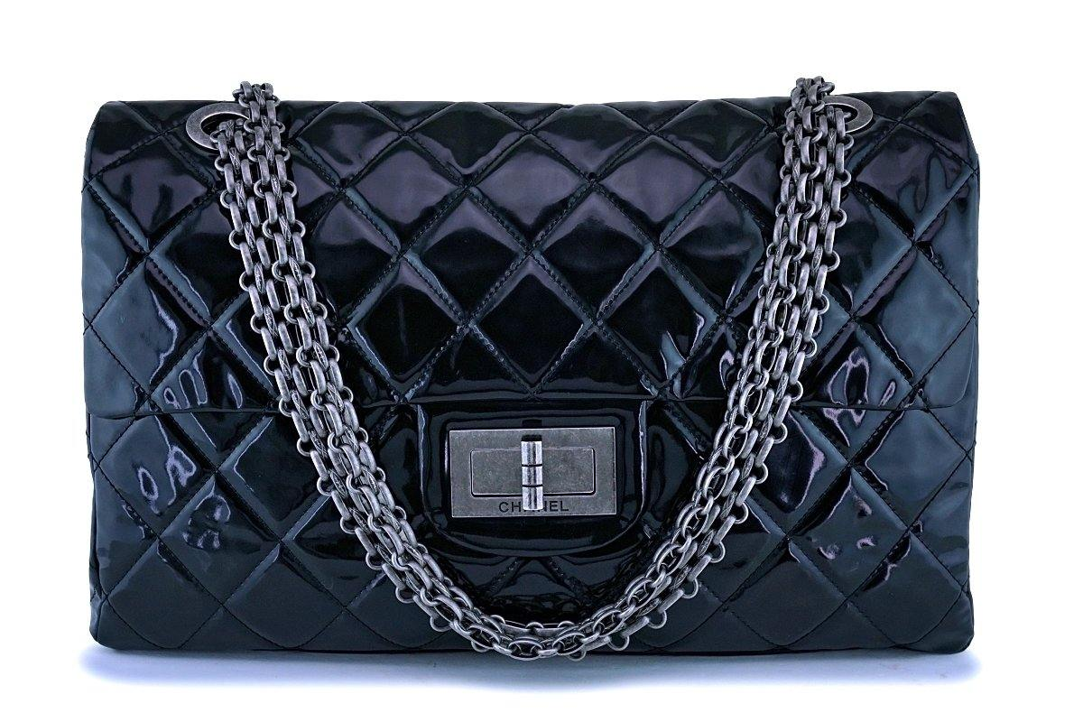 Chanel Black 19in Giant Jumbo XXL Classic Reissue Flap Bag RHW