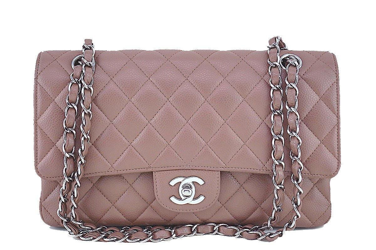 Chanel Taupe Beige Caviar Medium Classic 2.55 Double Flap Bag