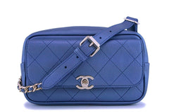 NIB 19C Chanel Pearly Iridescent Blue Waist Belt Bag Fanny Pack GHW