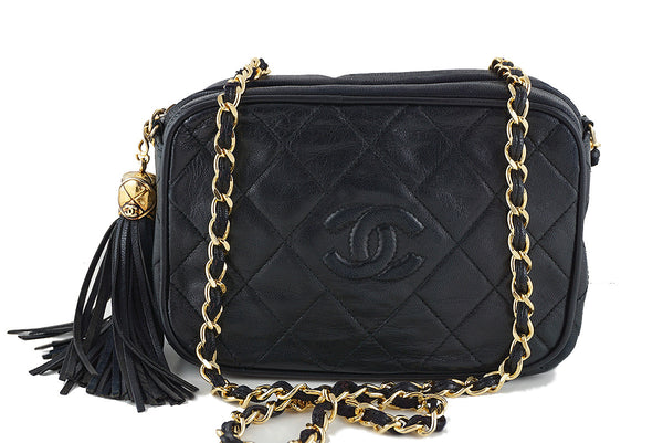 Chanel Black Small Lambskin Classic Quilted Camera Case Bag