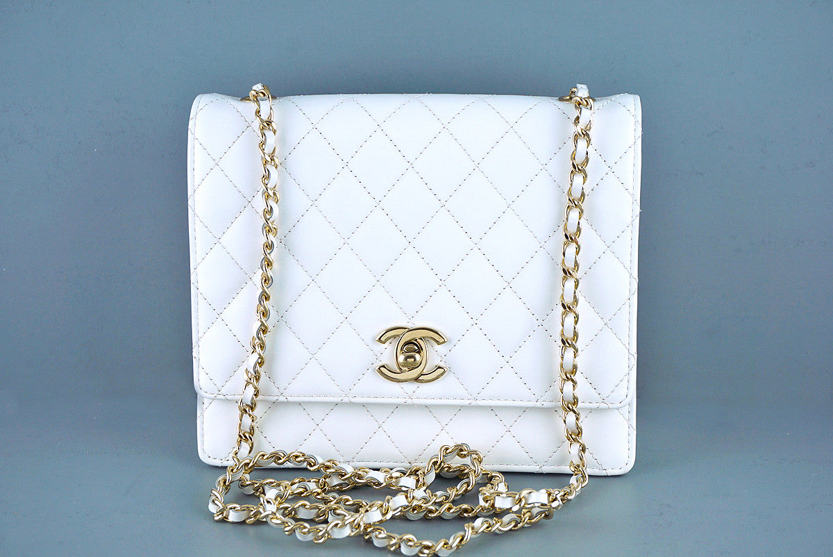 Chanel White Matte-Glazed White Classic Square Flap Bag