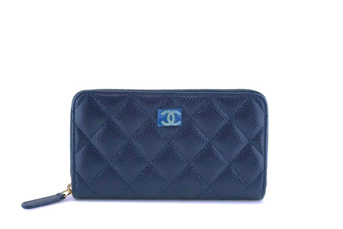 NIB Chanel Blue Caviar Small Zip Around Wallet GHW