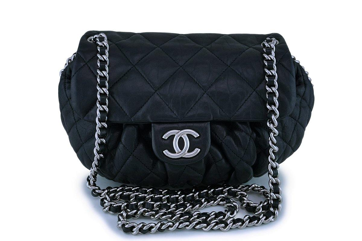 Chanel Black Textured Calf Medium Chain Around Crossbody Flap Bag SHW - Boutique Patina