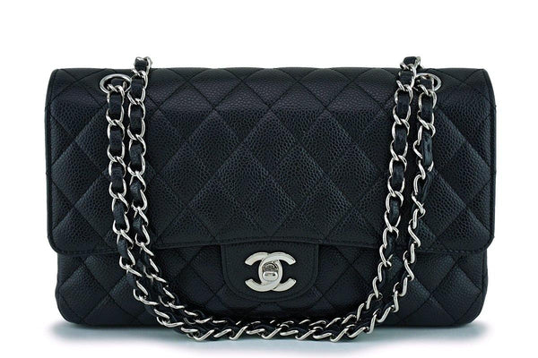 Chanel Black Caviar Classic Medium Double Flap Bag SHW