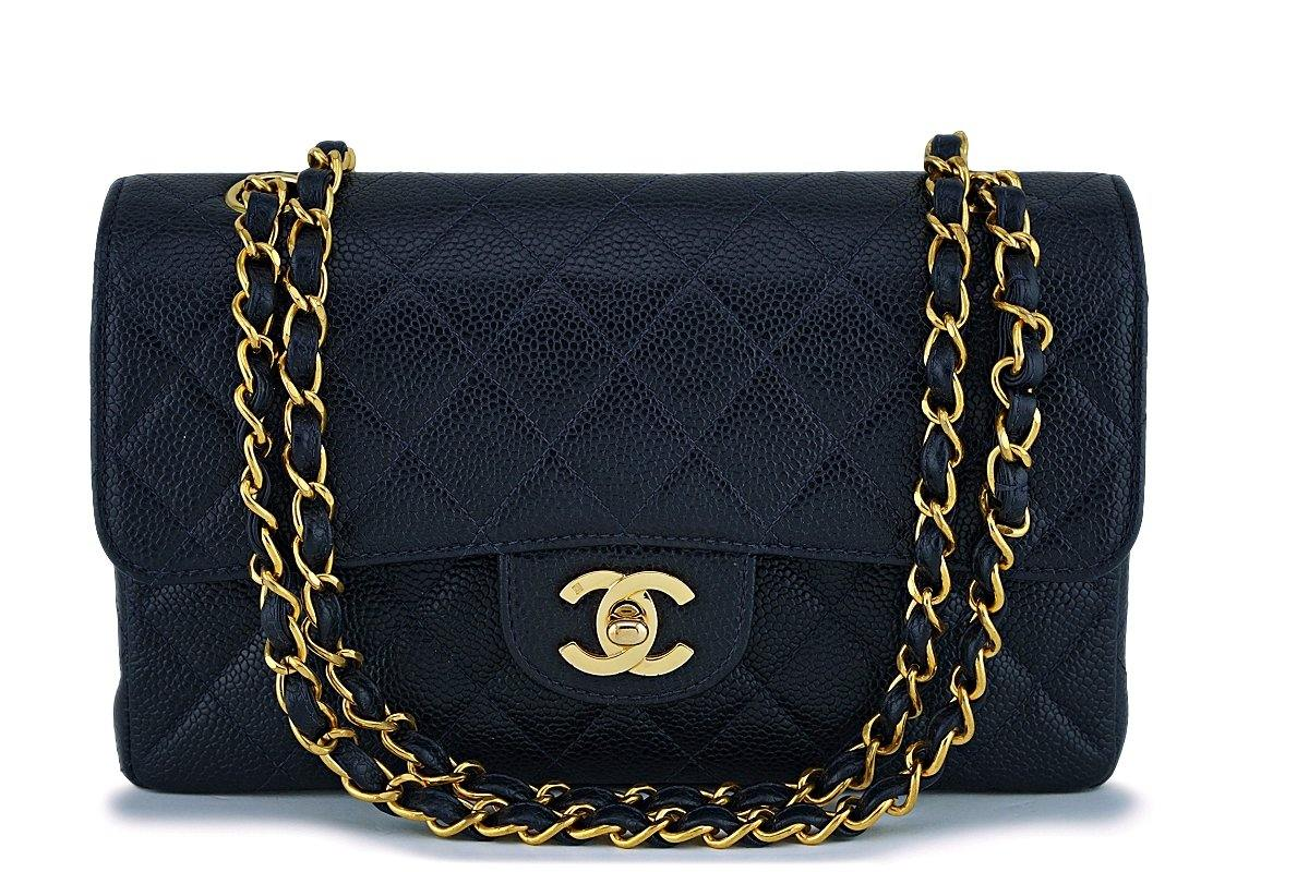 Chanel Midnight Navy Blue-Black Caviar Small Classic Double Flap Bag 24k GHW - Boutique Patina