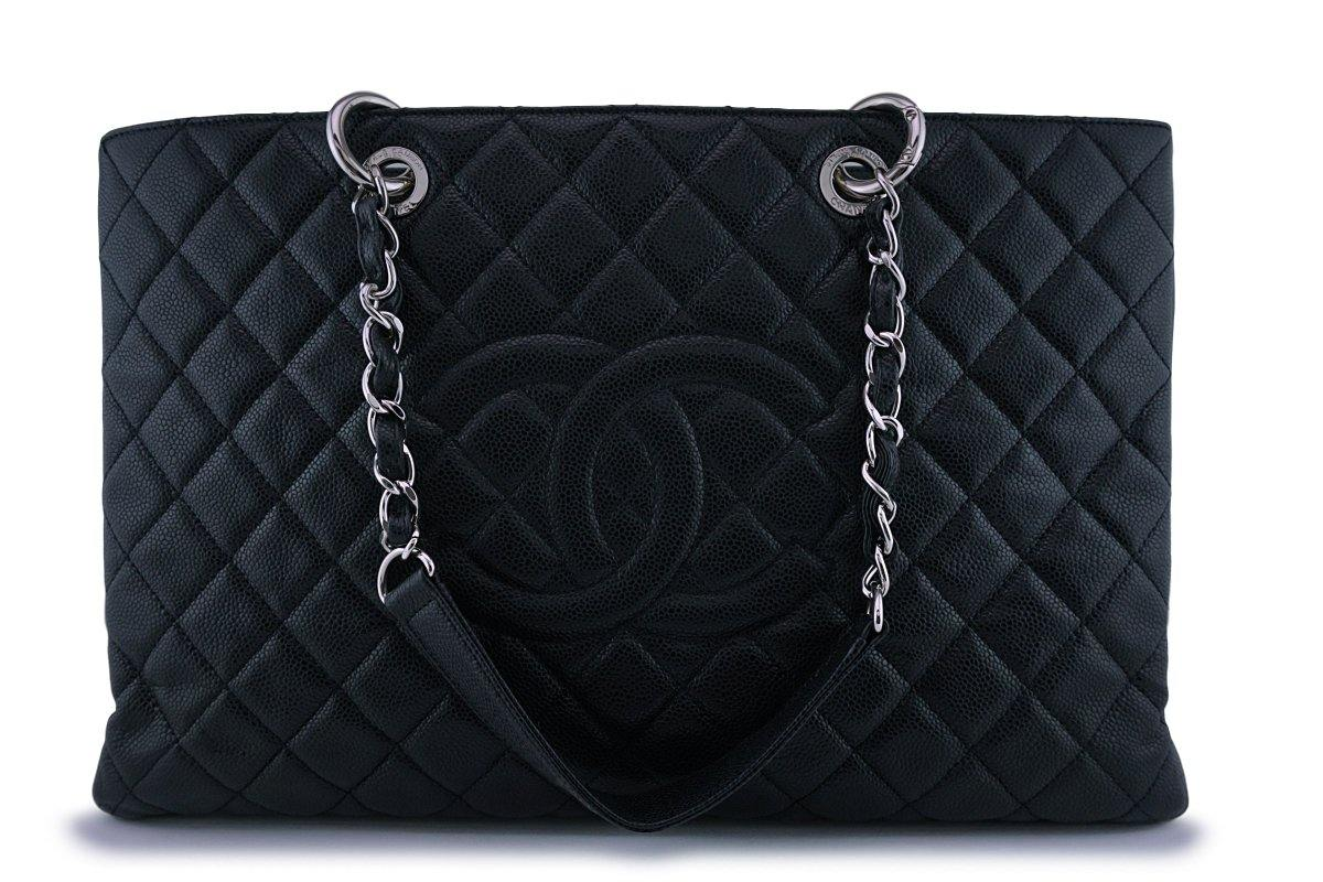 Chanel Black XL Large Classic Grand Shopper Tote GST Bag SHW