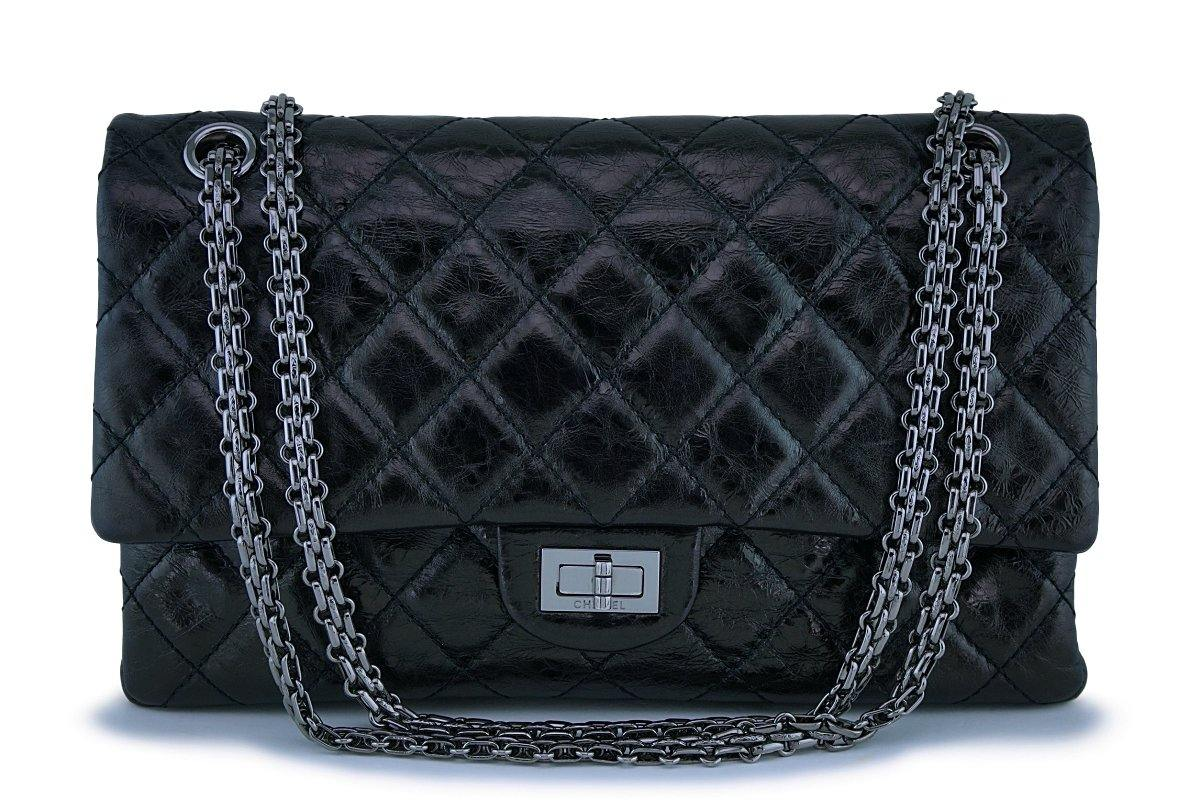 Chanel Black Metallic 226 Medium Reissue 2.55 Classic Double Flap Bag Shiny RHW