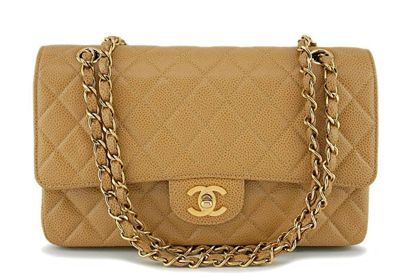 Chanel Camel Beige Caviar Medium Classic Double Flap Bag 24k GHW