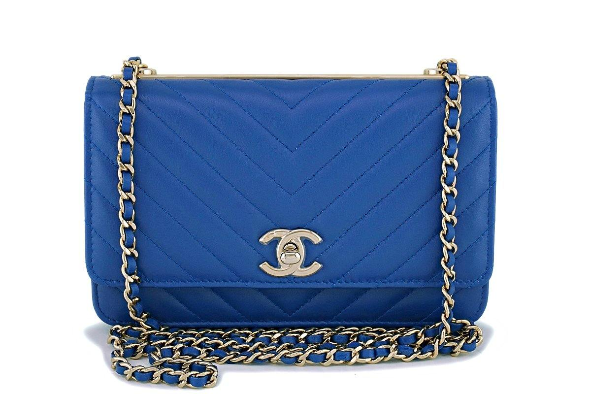 NIB 19C Chanel Blue Chevron Trendy CC WOC Wallet on Chain Flap Bag GHW - Boutique Patina