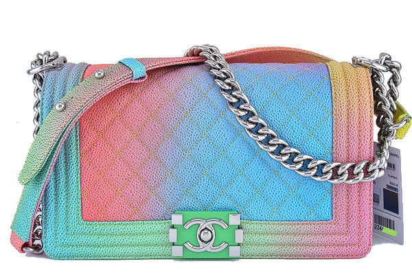 NWT 17C Chanel Multicolor Rainbow Le Boy Classic Flap, Medium Caviar Bag