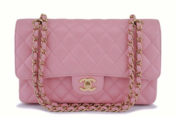 Chanel Pink Caviar Medium Classic Double Flap Bag 24k GHW