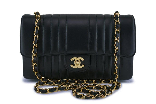 Chanel Vintage Black Lambskin Medium Mademoiselle Classic Flap Bag 24k GHW