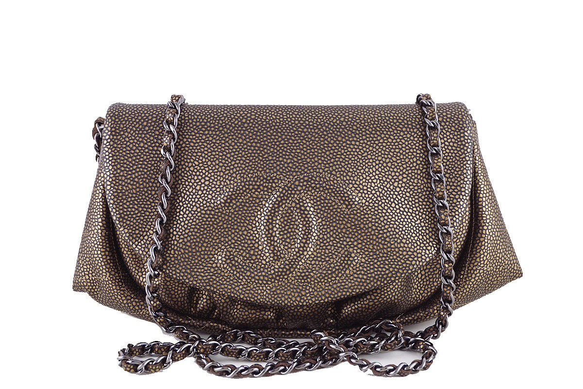 Chanel Half Moon WOC, Caviar Bronze Wallet on Chain Purse Bag