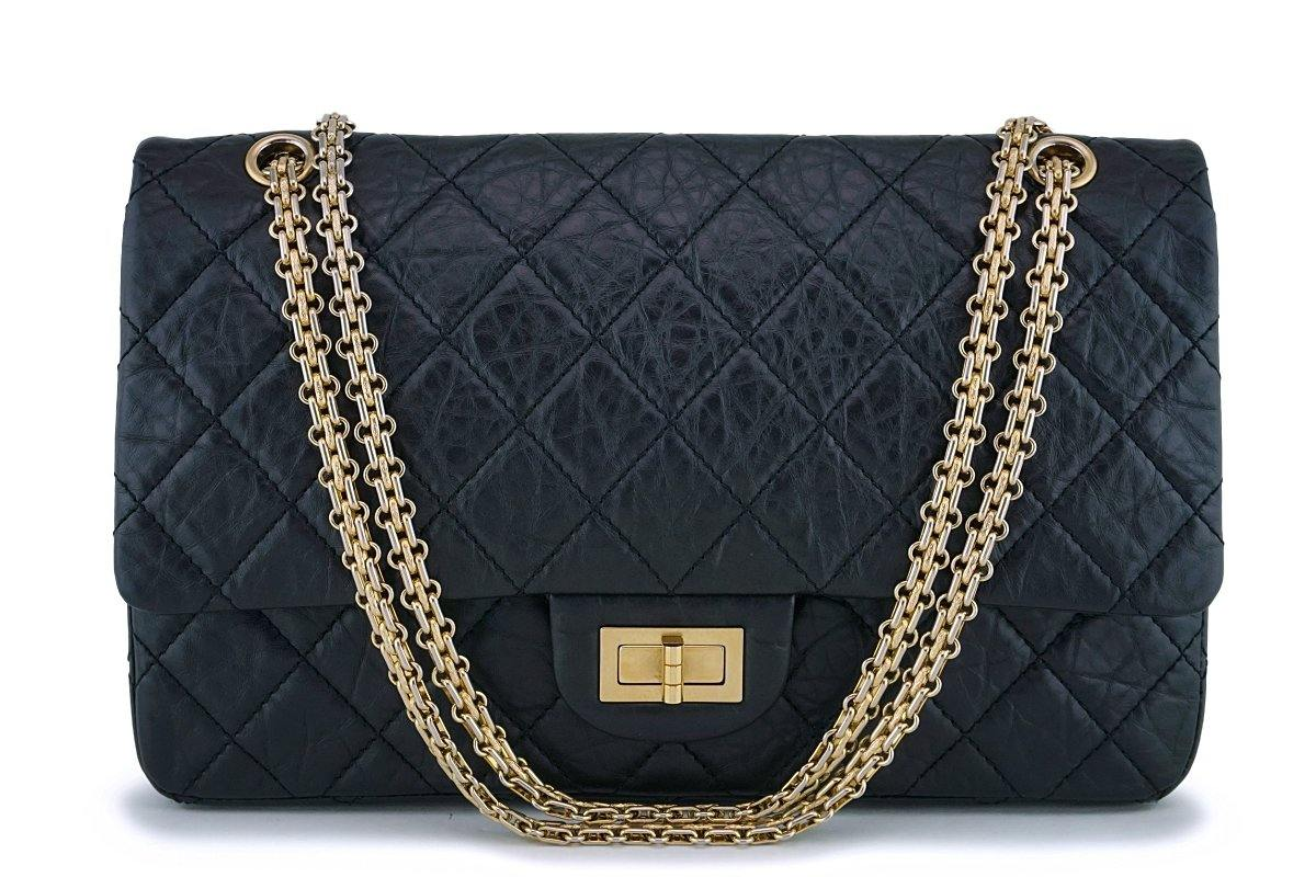Chanel Black Aged Calfskin Reissue Large 227 2.55 Flap Bag GHW - Boutique Patina