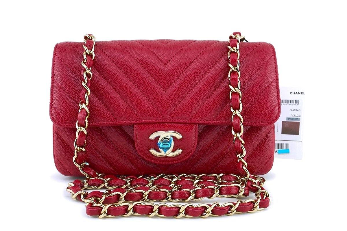 01878d85fc8238 NWT 18B Chanel Pink Red Caviar Chevron Rectangular Mini Classic Flap B