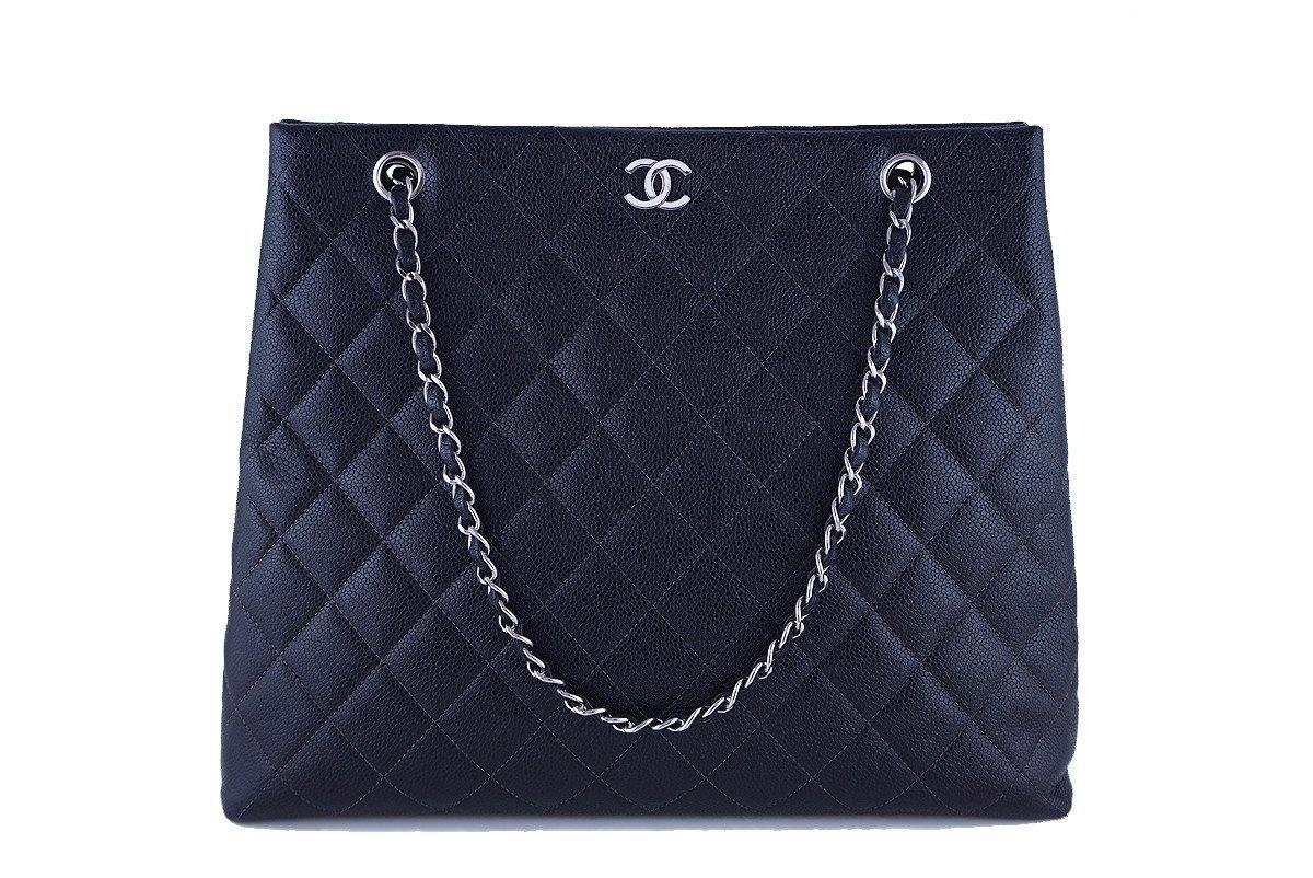 Chanel Black Caviar Classic Quilted Tall Shopper Tote Bag