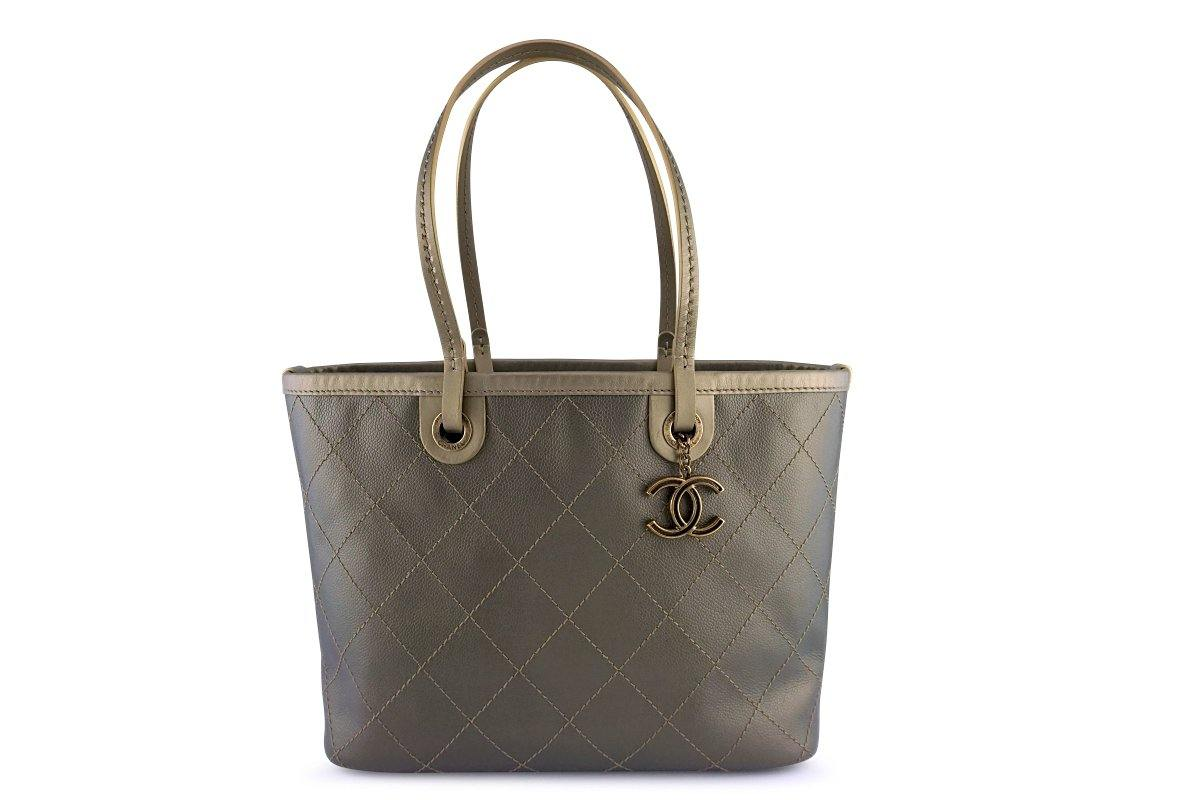 Chanel Gold Quilted Caviar Large Shopper Tote Bag