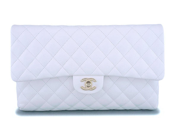 NIB 19B Chanel White Caviar Timeless Classic Flap Clutch Bag GHW