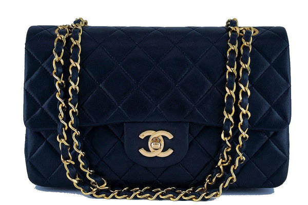 Chanel Navy Blue Lambskin Medium-Large Classic 2.55 Double Flap Bag
