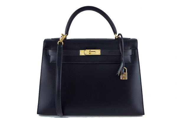 Hermes Black 32cm Box calf Kelly Sellier Bag, GHW