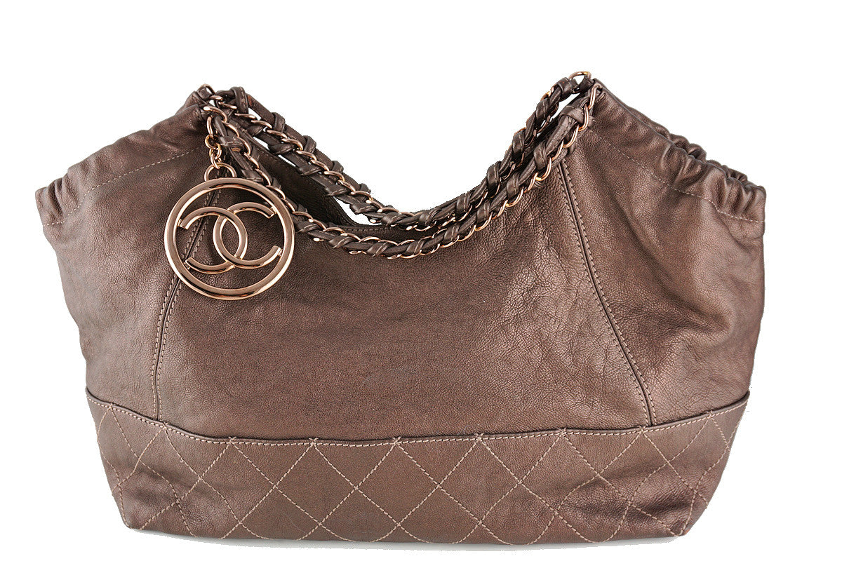 Chanel Rare Rose Gold/Bronze Calfskin Baby Coco Cabas Tote Bag - Boutique Patina  - 1