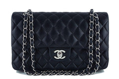 Chanel Black Lambskin Medium Classic 2.55 Double Flap Bag, SHW - Boutique Patina  - 1