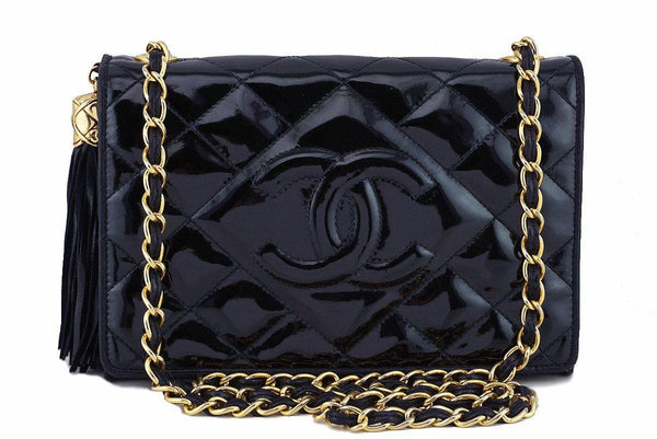 Chanel Black Classic Flap, Timeless Vintage Tassel Bag