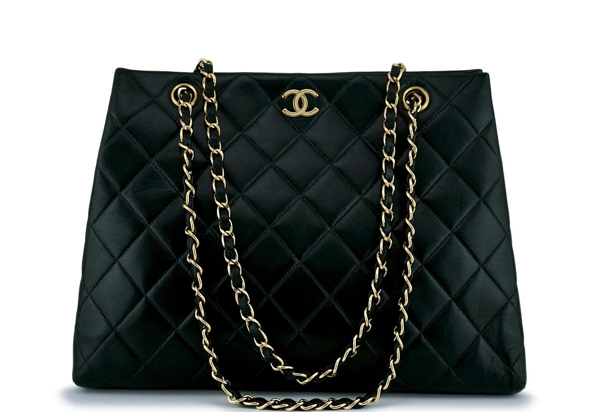 Chanel Black Classic Quilted Shopper Tote Bag 24k GHW