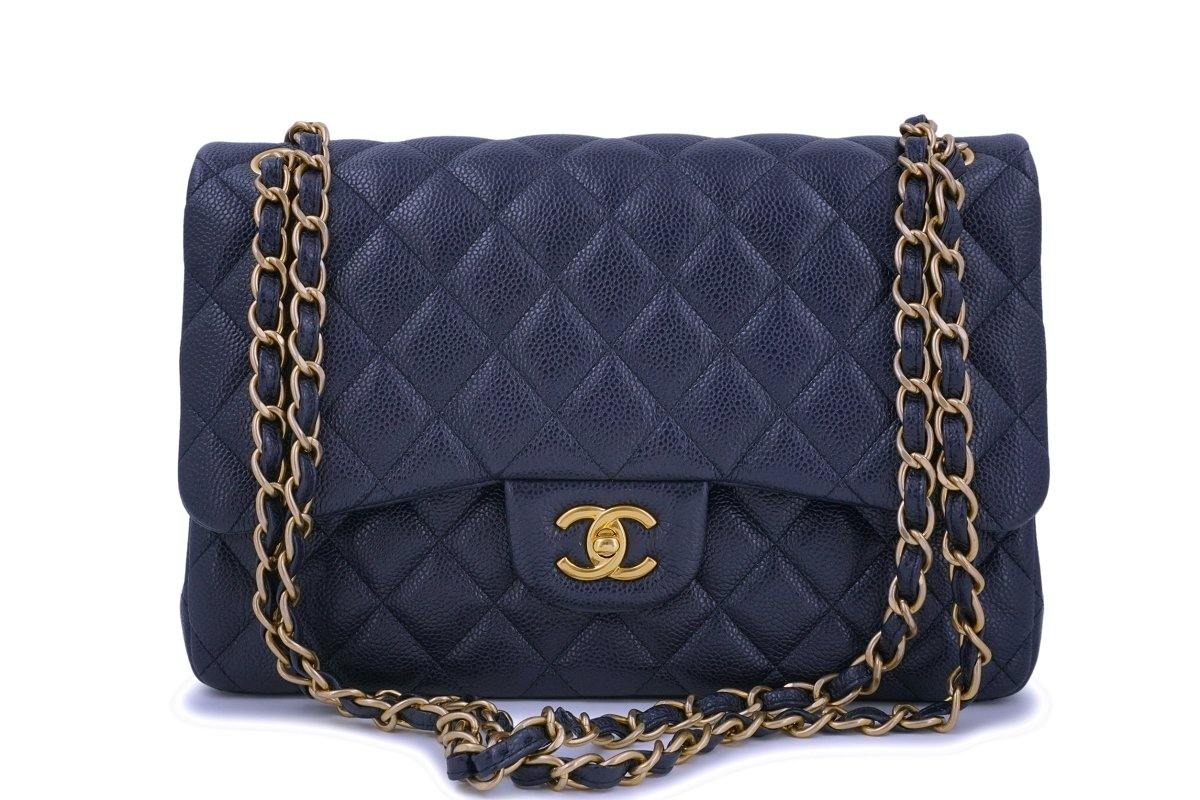 Chanel Navy Blue Caviar Jumbo Classic Double Flap Bag GHW