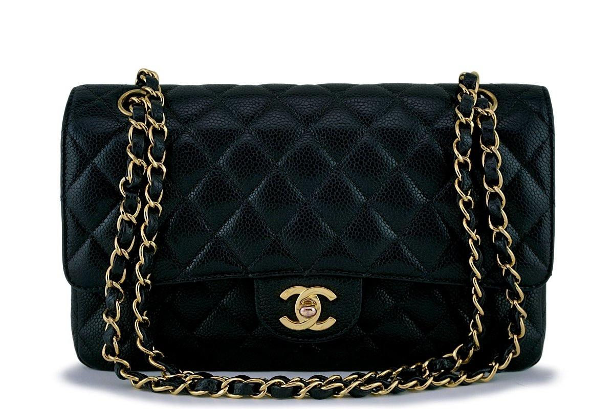 Chanel Black Caviar Classic Medium Double Flap Bag 24k GHW