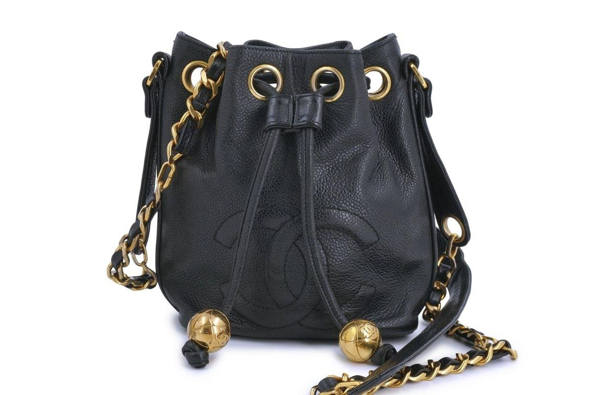 Chanel Vintage Black Caviar Mini Drawstring Bucket Pouch Bag 24k GHW - Boutique Patina